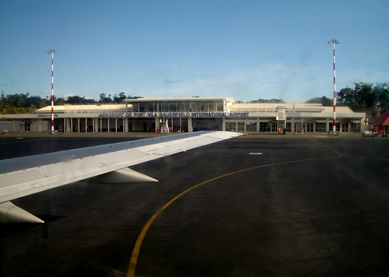 Plane arrival at Bauerfield International Airport in Port Vila