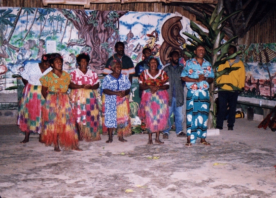 Colourful costumes of Melanesian Feast night performers