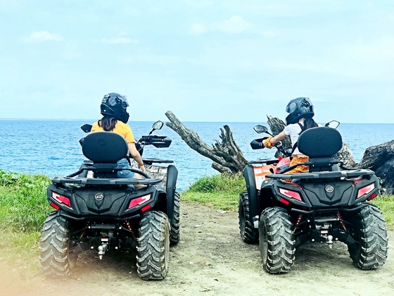 Two ATV riders looking toward ocean